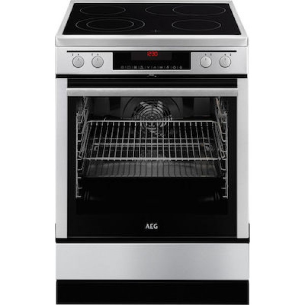 AEG 69476VS-MN κουζίνα Inox με κεραμική εστία πυρολυτική με LCD οθόνη και χειρισμό αφής