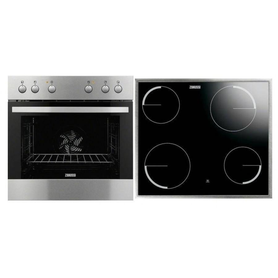 Zanussi Σετ εντοιχιζόμενη κουζίνα με εστία inox  ZOU 30602 XK + ZEV6040XBA Σετ εντοιχισμού Ηλεκτρικες Συσκευες - homeelectrics.gr